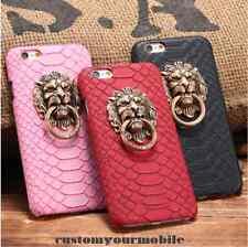 LUXE Coque iPhone 5 5S 6 6S + Plus 3D Tête De Lion Anneau Serpent CASE Faux Cuir