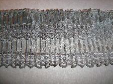 Negro de organza doble plisado de encaje de corte 1 Metro sewing/costume/crafts
