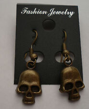 Skull PIRATE Gothic Bronze Earrings French Hooks FREE SHIPPING #E91