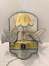 Whimsical Tin Tole Painted Folk Art Wall Sconce Lamp With Birds