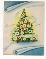 Vintage Sommerfield Christmas Greeting Card Music Notes Christmas Tree
