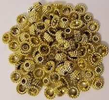 Lot 100 Gold Plastic Crowns Rings Beads Christmas Crafts Ornaments Beading VTG