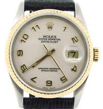 Rolex Datejust Men 2Tone 18K Gold Stainless Steel White Anniversary Arabic 16233