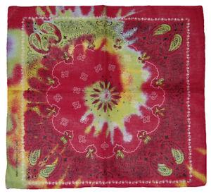 """Wholesale Lot of 12 Pink / Green Swirl Tye Dye Paisley Cotton 22""""x22"""" Bandana"""