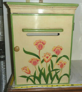 """Wooden Wall Mounted/Freestanding Floral MAILBOX ~16¼""""H x 12""""W x 8½""""D"""