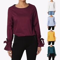 TheMogan Flared Bow Cuff Long Sleeve Keyhole Back Relaxed Cotton Poplin Top