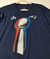 NFL New England Patriots Superbowl LIII Men's Short Sleeve T Shirt 2XL Blue Crew
