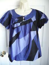 A.N.A. NEW Blouse Shirt L P Blue Geometric Print Cotton Scoop Neck Bubble Sleeve