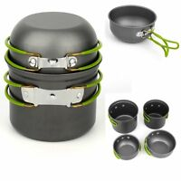 Portable Outdoor Cooking Set Aluminum Pot Pan Cookware Camping Picnic Hiking SY