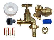 25 mm MDPE KIT rubinetto esterno con rubinetto Heavy Duty, Ottone Piastra Muro e raccordo del tubo flessibile