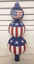"Patricia Breen Patriotic Flag Glass Christmas Finial Tree Topper Tag Rare 12"""