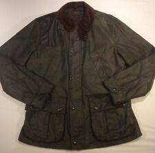 Polo Ralph Lauren Waxed Camo Hunting Jacket Leather Patch $700 Retail Size Large