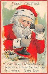 H62/ Santa Claus Christmas Postcard c1922 Telephone Good Bye! 115