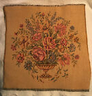"""Vintage French Tapestry Square """"Floral Urn""""  13"""" Square Decorative 100% Cotton"""