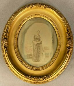 """Antique 1800s Victorian Gold Gilt Gesso Wood Oval Picture Frame 14.3/4"""" x 13."""""""