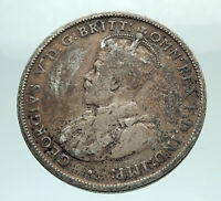 1925 AUSTRALIA - UK King George V Kangaroo Silver Florin Australian Coin i74480