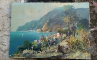 Valentino White 1909-1985 costiera di  Amalfi olio su tela misure 70x50 bello.