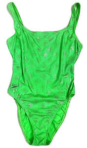 Vintage Speedo One Piece Swim Suit Size 10 Green Silver High Thigh Low Back