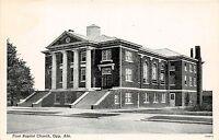 C11/ Opp Alabama AL Postcard c1920 First Baptist Church Building