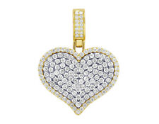 "In 10K Yellow Gold 3 Ct 1.5"" Ladies Real Diamond Heart Pendant 2 Layer"