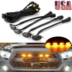 4x Smoked Lens Amber LED Front Grille Running Lights For Ford F150 Raptor Style