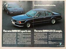 BMW M1 635csi 1979 2p Advertisement Pub Ad Werbung
