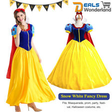 Snow White Cosplay Costume Ladies Fairytale Princess Fancy Dress w/ Petticoat