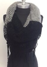 Women's Knitted Crochet 2 in 1 Tone Circle long scarf Shawl Wrap Black/Gray Soft