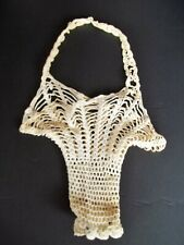 Vintage Crochet Basket Handmade outer shell Holder 19 inch long 1930's era