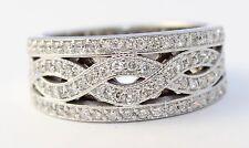 14k White Gold Cris Cross Diamond Ladies Band Ring