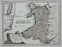 PRINCIPALITY OF WALES, original antique map.Von Reilly c.1790
