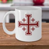 Knights Templar masonic coffee mug - Jerusalem cross symbol - Christianity gift