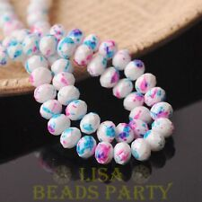 New 30pcs 8mm Glass Opaque White Rondelle Faceted Loose Beads Pink&Blue Dots