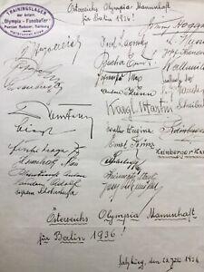 1936 Olympische Spiele Autogramme Österreich Fußball Mannschaft Autograph Signed