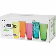 Acrylic Drinkware Set of 10 Large Plastic Cup Assorted Color Bath Twist 24-Ounce