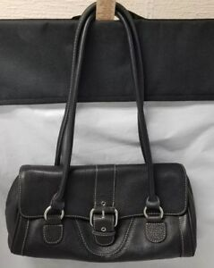 Womens Black Leather Purse: Double Handle Buckle Closed, 4 Compartments, Handbag