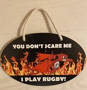 Welsh plaque Hanging YOU DON'T SCARE ME I PLAY RUGBY With Red Dragon 20 X 13cm