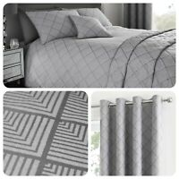 Serene WILMSLOW Art Deco Grey Jacquard Woven Bedding, Curtains & Cushions