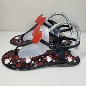 Hello Kitty Women's Sandals Size 8 Black Rubber Red Glitter Bow Skulls Sanrio