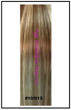 "20"" CLIP IN REMY HUMAN HAIR EXTENSIONS BROWN BLONDE MIX"