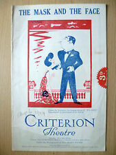 CRITERION THEATRE PROGRAMME 1924- THE MASK & THE FACE by C B Fernald