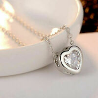 2.00 Ct Heart Cut Diamond Solitaire Pendant Necklace 14k White Gold Finish
