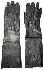 Vintage Leather Gloves Womens Black Mid Century Elbow Length Size 6.5 Table Cut