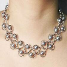 NEW STUNNING LUSTROUS GRAY FRESH  WATER PEARL SILVER PIANO WIRE NETTING NECKLACE