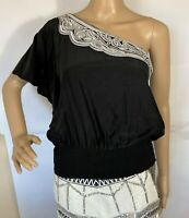 White House Black Market Black Top Off Shoulder Size 6