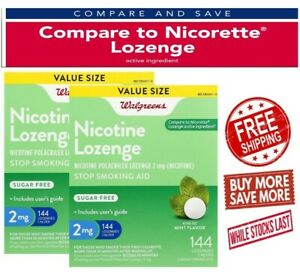 2 Pack of Walgreens Nicotine Lozenges 2 MG 144 Count Compared  Nicorette 10/2021