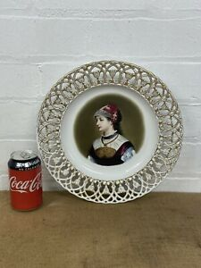 Antique Pierced Reticulated Plate Portrait of Lady Hand Painted