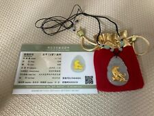 Certified Pure Gold Natural Jadeite Pendant,Jade Necklace,Chinese Zodiac Tiger