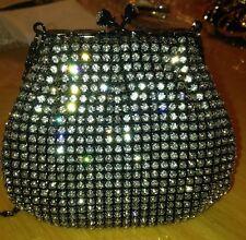 Stunning Black Swarovski Crystal Beaded Evening Bag Clutch  Free Ship New