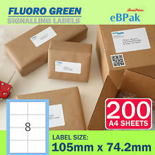 200 Sheets - Fluoro Green - Peel Paste Mailing Label 105x74.2mm 8 per Page